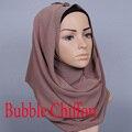 Новый Цвет Мусульманин хиджаб исламский хиджаб женщин Мусульманское hijab джерси шарф хиджабах bubble шифон платки равнина шарфы WL2461