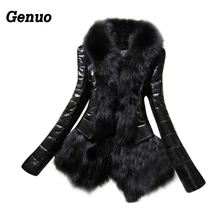 Genuo Winter Leather Jacket Women Patchwork Faux Fur Collar Coat Parkas Fashion Female Down Overcoat Hood Outwear