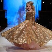 Блестящее платье для девочек Блестки рюшами платье пачка принцессы вечернее платье для маленьких детей для девочек