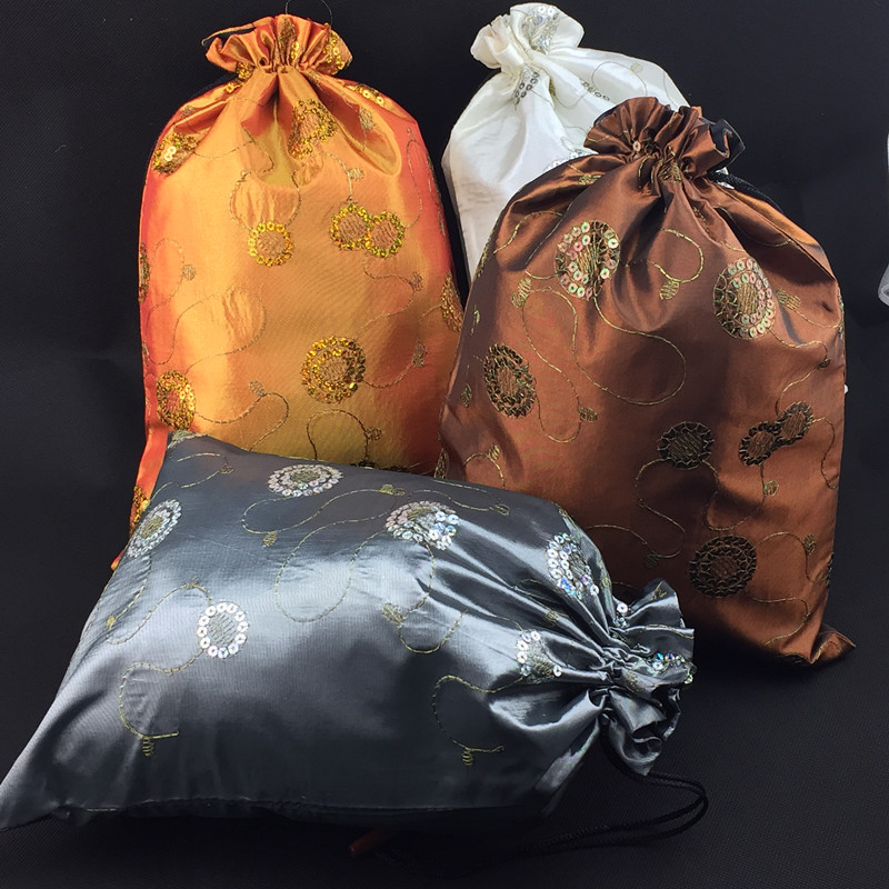 wedding : 10pcs Extra Large Drawstring Sequin Packaging Pouches Satin Fabric Wedding Party Christmas Favor Gift Bags with lined
