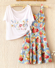 12-16 ans taille libre robe de filles vêtements set enfants filles T-shirt + robe 2 pcs mis adolescente costumes livraison gratuite