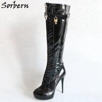 Sorbern масло Pu сапоги до колена для женщин Платформа каблуки Женская обувь на платформе 2018 женские сапоги пряжки боковая молния замки