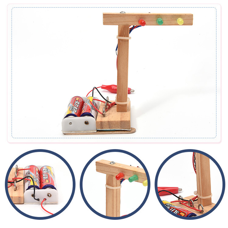 Children DIY Mini Wooden Traffic Light Primary School Student Science Experiment Gizmo Fun Learning Education Toys for Children