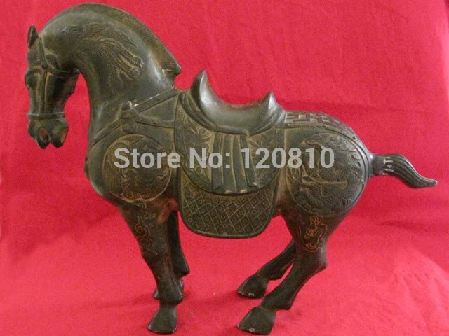 Rare Asian Qing Dynasty(Kangxi:1661-1722)Bronze Statue Horse