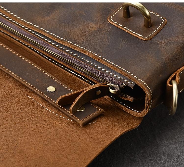 Brown Leather Handbag Vintage zipper