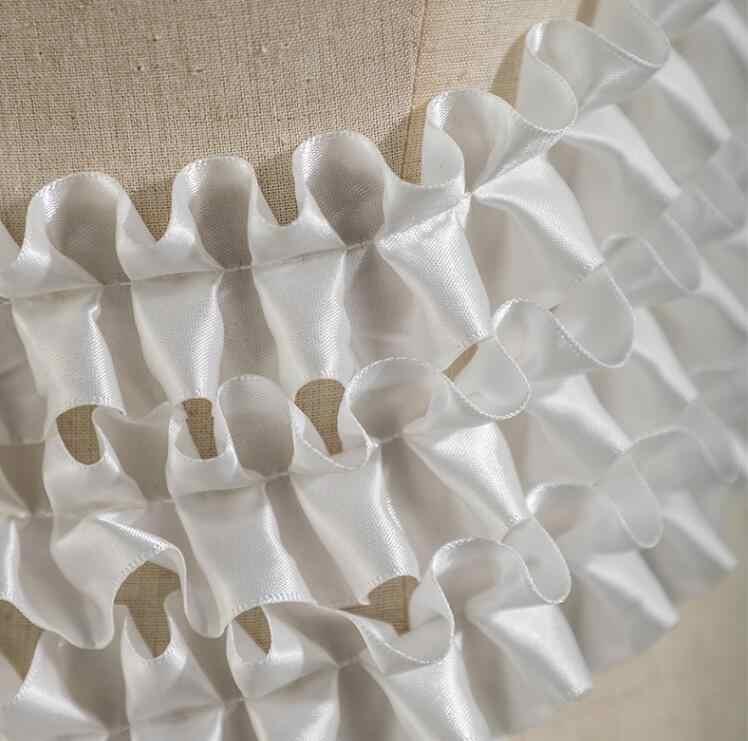 2 Estilo onda plisada pequeña textura estéreo textiles algodón tela vestido lentejuelas diy láser boda gasa fiesta tweed tela A424