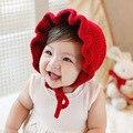Девочка Шляпы Моды Трепал Ветрозащитный Девочка Шапки Красные Трикотажные детские Шапки На Осень Зима