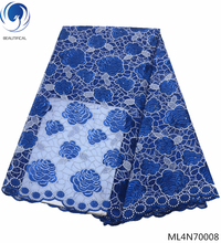 BEAUTIFICAL blue french lace fabrics rhinestone african tulle high quality 2019 designs for clothes ML4N700