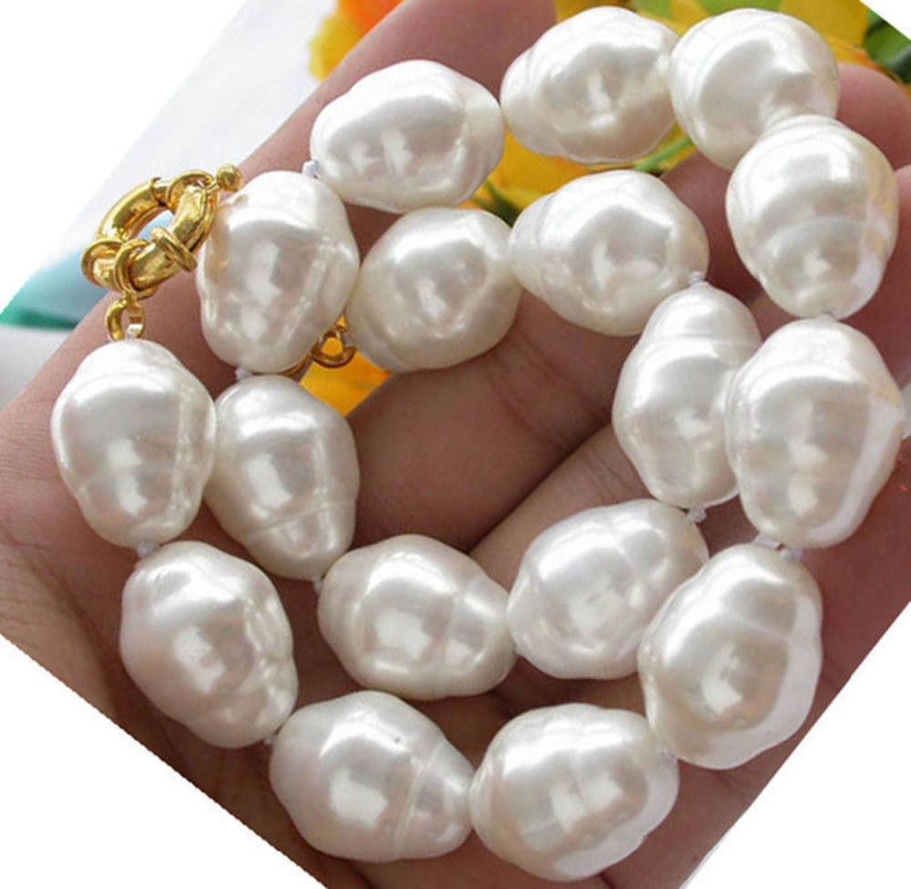 Hand knotted huge large 16mm south sea white baroque shell pearl necklace 18 fashion jewellery hand knotted carpets of uttarakhand