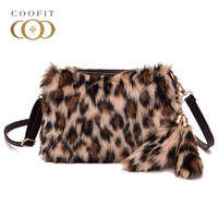 Coofit Luxury Faux Fur Messenger Bags Winter Female Leopard Bag Stylish Zebra Crossbody Shoulder Bag With