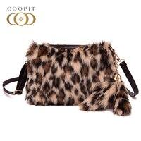 Coofit Lusso Faux Fur Messenger Borse Inverno Femmina di Leopardo Borsa Alla Moda Zebra Crossbody Borsa A Tracolla Con Ciondolo Piuma 2018