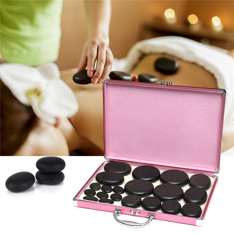 20pcs lava Natural Energy Massage Stones Hot Spa Rock Basalt Stone Power Tuina Therapy With Heating Box Pain Relief Health Care