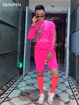 Nightclub Bar Male Singer Summer DJ DS Phosphor Pink Hip Hop Set Party Theme Performance Costume
