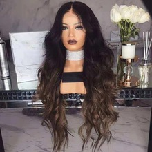 Long Wavy Black Wigs Ombre Brown and Red Wave Synthetic Wig for Women Natural Middle Part Heat Resistant Hair graceful shaggy long heat resistant synthetic wave capless middle part universal wig for women