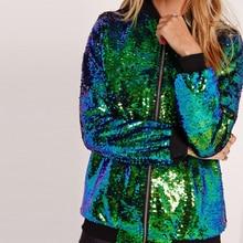 Осеннее Женское пальто с пайетками зеленая куртка-бомбер с длинным рукавом на молнии уличная куртка опрятная Свободная Повседневная Женская Блестящая Базовая куртка