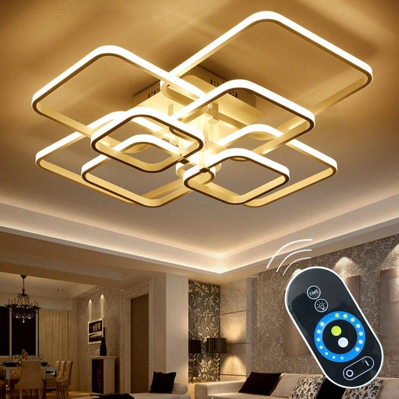 Toque Escurecimento Remoto plafon Moderno CONDUZIU a Lâmpada Do Teto Luzes do Quarto de Jantar Sala de estar Lustre Luminária de Alumínio Lamparas De Techo
