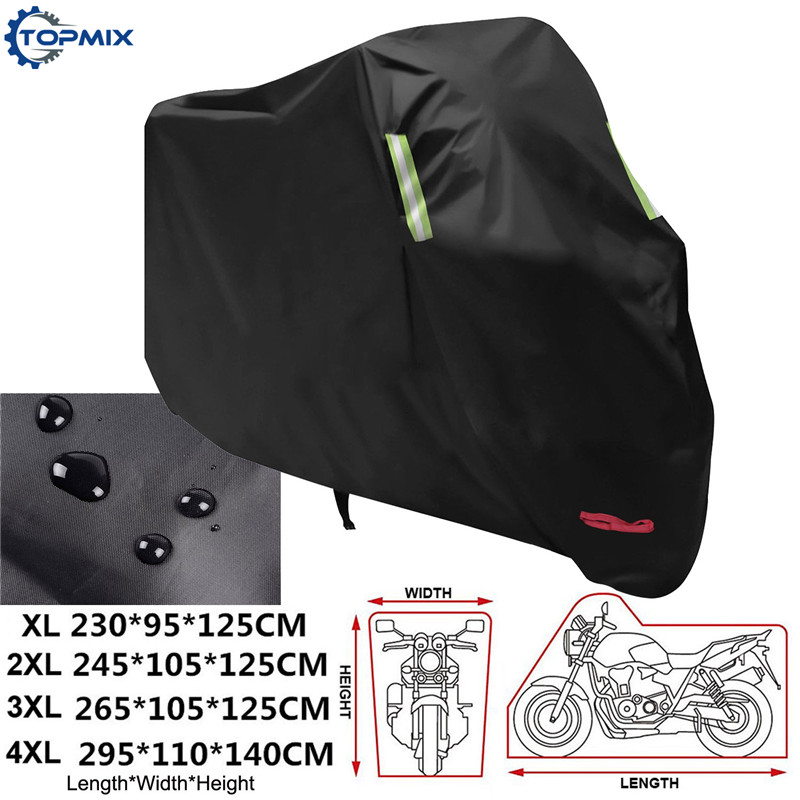 XL XXL XXXL XXXXL 190T Black Motorcycle Motorbike Cover Waterproof Outdoor Uv Rain Dustproof Protector with Reflective Strips