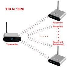 measy av230 2.4GHz 300m Wireless STB AV Sender TV Audio Video Transmitter & Receiver Set for IPTV DVD (1 TX TO 10RX)