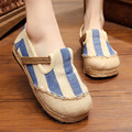2017 New Breathable Women Casual Flat Shoes Striped Totem Linen Non-slip Loafers Womens Flats Vintage Ethnic Cloth Shoes O2271