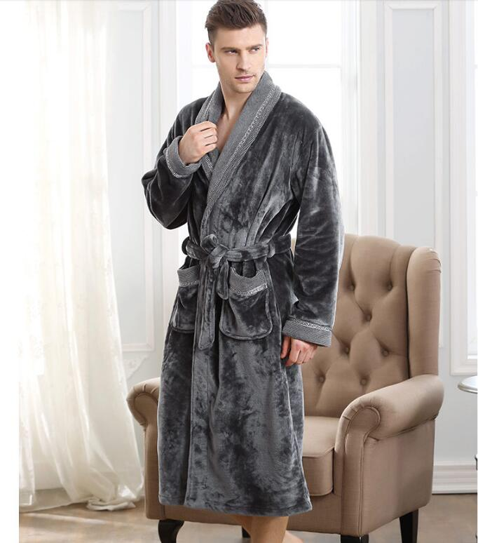 High Quality  Men's Bathrobe Kimono Very Long Robe Bathrobe