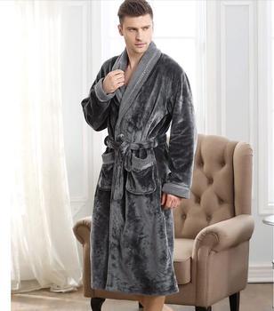 High Quality  Men's bathrobe Kimono very long robe Bathrobe