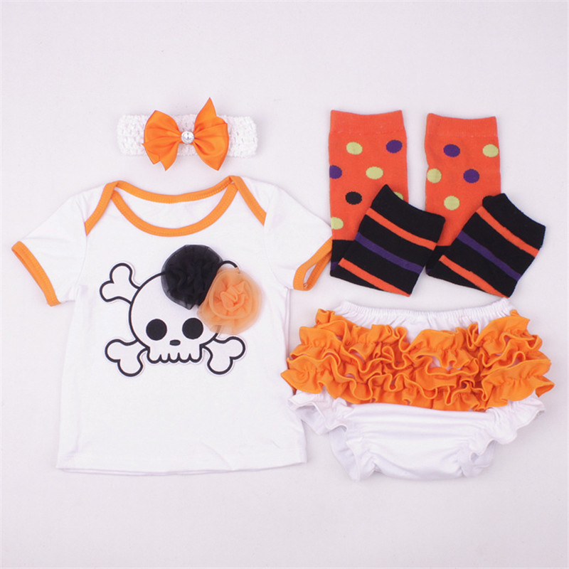 New Arrival Orange Baby Infant Bebes Halloween Skull Costume T-shirt Kids Clothing Set Toddler Outfits Clothes Babys Sets 0-18M