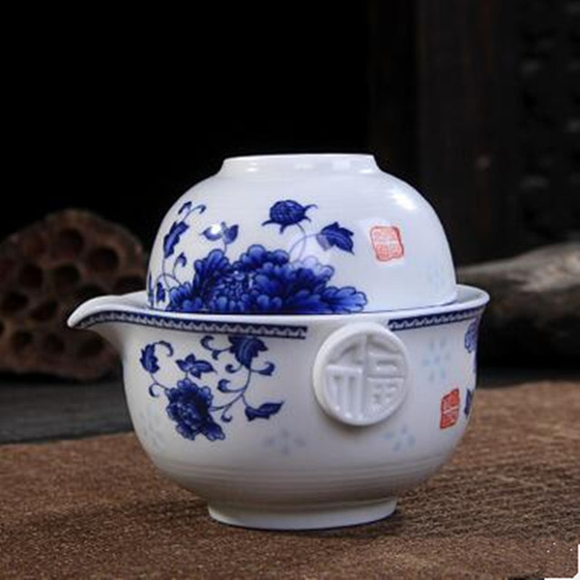 Chinese Tea Set of Gaiwan and Cup