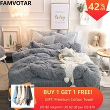 Famvotar Luxury Plush Shaggy Bedding Set (1 Faux Fur Duvet Cover+1 Quilted Ruffle Bedskirt+2 Pompoms Fringe Pillow Shams) цены