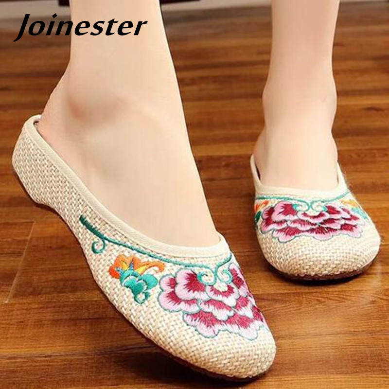 Special Offer Women's Summer Canvas Slipper Floral Embroider Breathable Casual Slides Flat Heel Walking Shoe Standard Size 2