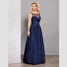 Marineblau Mutter der Braut Kleider Elegant A-linie Scoop Falten Bodenlangen Formal Hochzeit Abend Bräutigam Mutter Kleider
