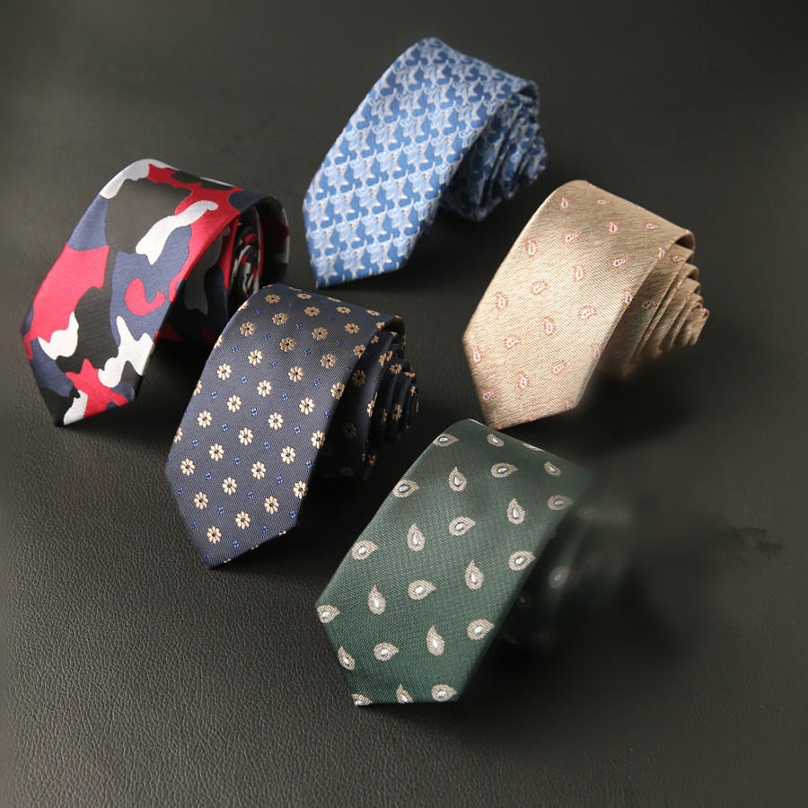 6cm New Skinny Men's Casual Slim Ties Classic Silk Polyester Woven Party Neckties Fashion Man Tie For Wedding Business Male Tie