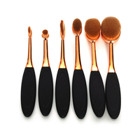 Faylisvow 6pcs Rose Gold Oval Makeup Brushes Set Pro Toothbrush Foundation Eyebrow Brush Conrtour Makeup Tool