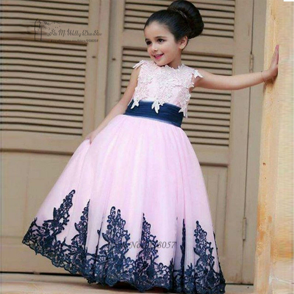 First Communion   Dresses   For   Girls   Pink Lace Cloud Little   Flower     Girls     Dresses   for Weddings Kids Evening Gowns Pageant   Dresses