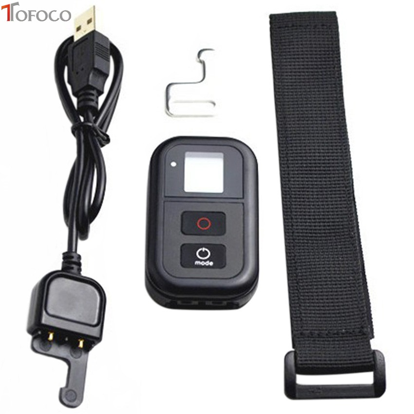 TOFOCO Remote Control Accessories For GoPro + Wireless RC Charging Cable + wrist belt For Gopro hero 4/Session/3+(Plus)/3 black three dimensional adjustable helmet side mount for gopro hero 3 3 2 1 black