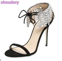 Women Luxurious Bling Bling Crystal Sandals Thin High Heel Ankle Drape Fringe Rhinestone Dress Shoes Lace
