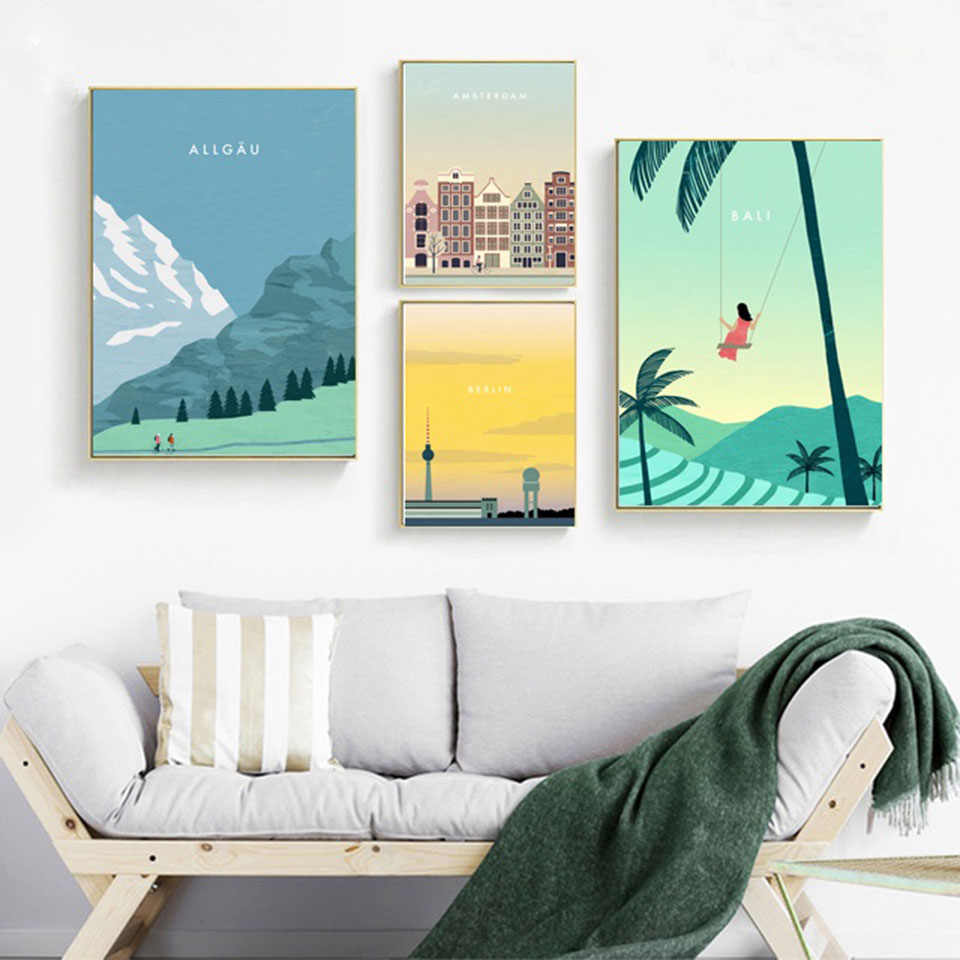Nordic Art Prints Scenery Canvas Painting Allgaeu Mountain Amsterdam Bali Berlin Travel Poster Modular Home Decor Wall Pictures