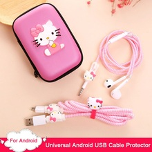 3 in 1 For Android Phone USB Charging Cable Earphone Protector Winder TPU Spiral Cord With Earphones Case Bag