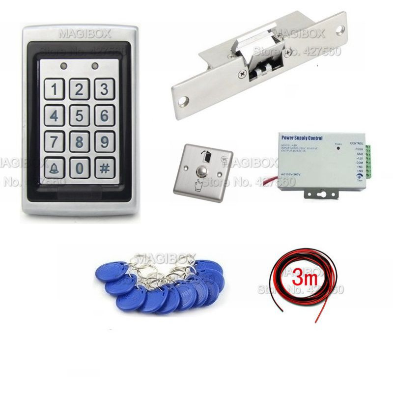 ACSS24 Водонепроницаемый RFID считыватель ID карт система контроля доступа комплект W/Strike дверной замок