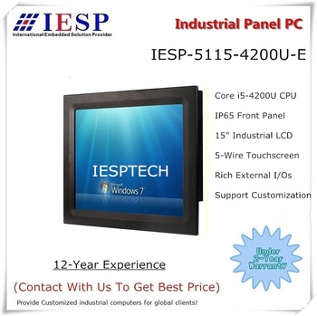 15 inch industrial panel PC, Core i5-4200U CPU, 4GB DDR3L RAM, 500GB SSD, 2*RS232/4*USB/GLAN, all in one touchscreen HMI