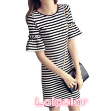New Summer Women's Black and White Striped Lady's Casual T-shirt Dress Round Neck Half Flare Sleeve Medium Length Dress Laipelar недорого
