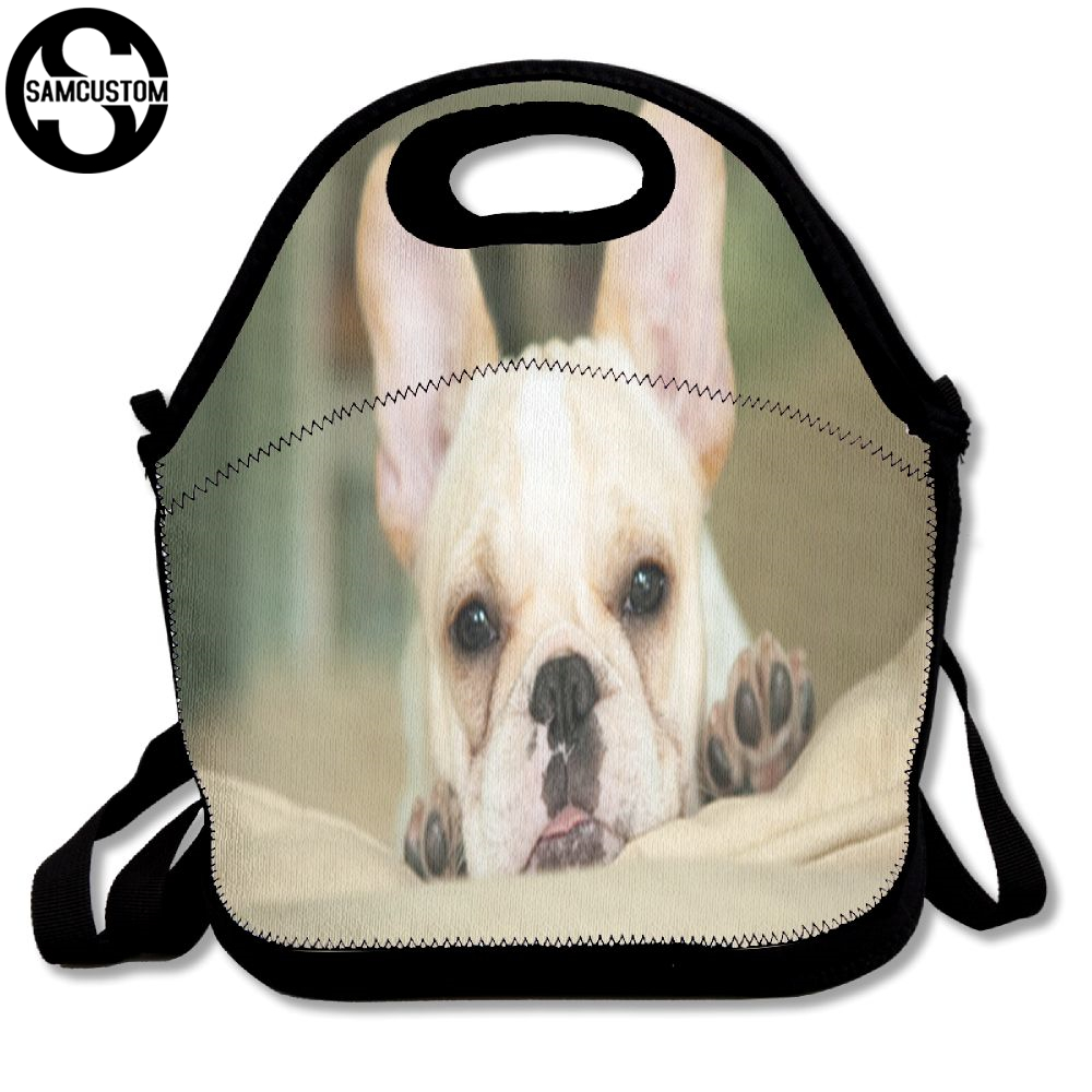 SAMCUSTOM Cute french bulldog cub Lunch Bags Insulated Waterproof Food Girl Packages men and women Kids Babys Boys Handbags