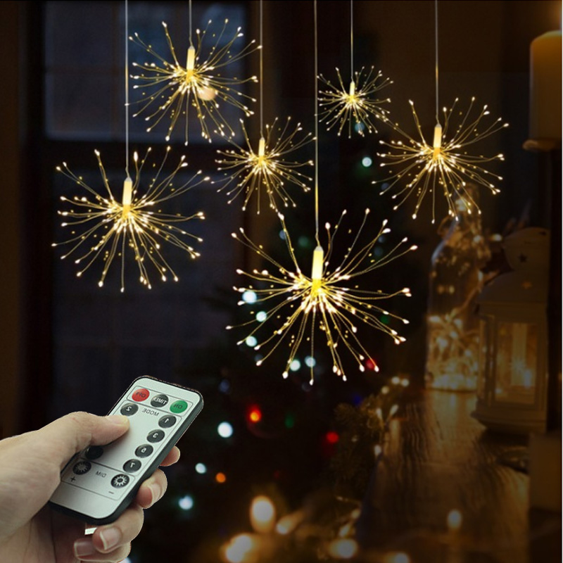 Hanging Starburst Fairy Lights 200 /120 LED String Light Bouquet Shape Firework Battery Power With Remote Control For Home Decor