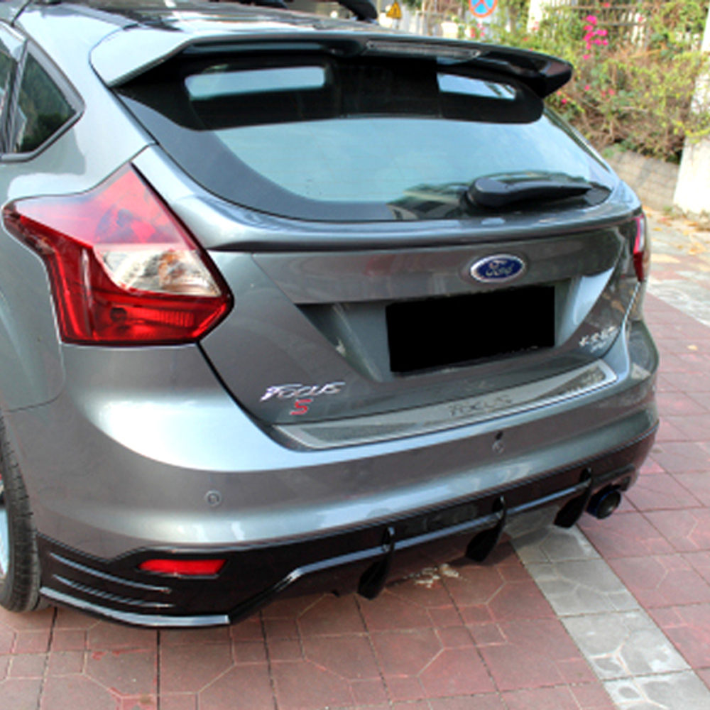 For ford focus hatchback rear middle boot lip spoiler wing 2012 2014 pu primer car styling in spoilers wings from automobiles motorcycles on