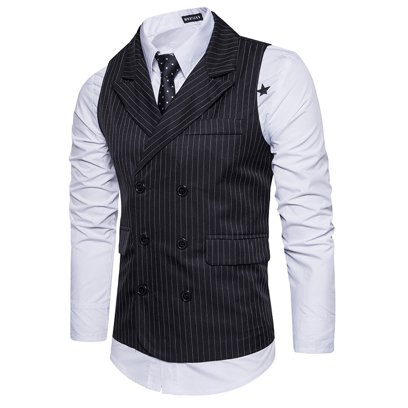 LASPERAL 2018 New Men's Suit Vest Men's Business Casual Fashion Slim Vest Striped Double-breasted Comfortable Vest