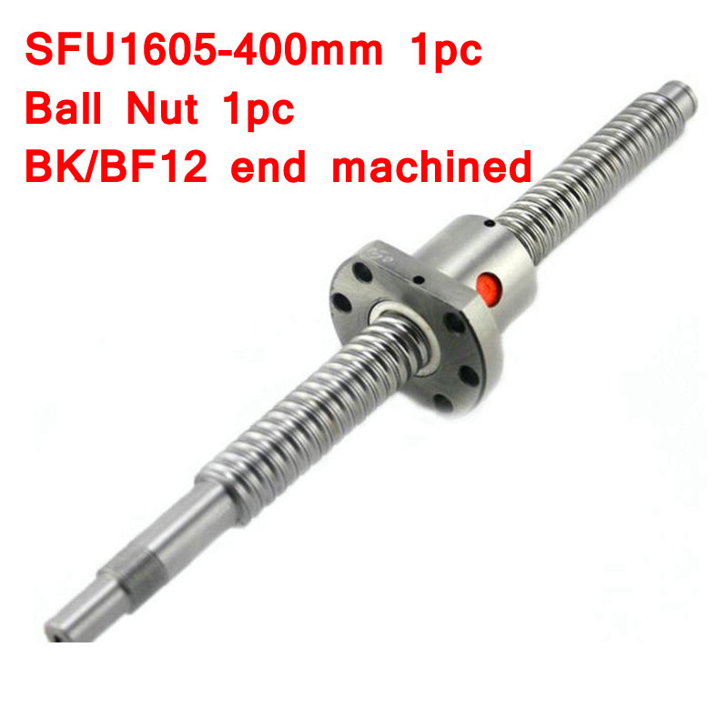 SFU1605 400mm RM1605 400mm Rolled Ball screw 1pc+1pc ball nut for SFU1605 with end machinedSFU1605 400mm RM1605 400mm Rolled Ball screw 1pc+1pc ball nut for SFU1605 with end machined
