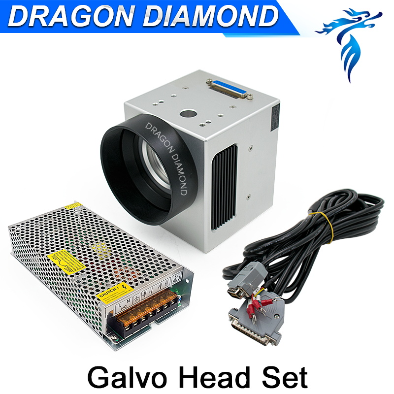 Fiber Head Laser Scanner Galvo Head 10mm Input Aperture + Power Supply switch 15V Cables for Fiber Laser Marking Machine high power promotion price possible portable metal fiber laser marking machine akg6090 page 3