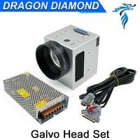 Fiber Head Laser Scanner Galvo Head 10mm Input Aperture + Power Supply switch 15V Cables for Fiber Laser Marking Machine