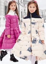 2016 Зимняя Куртка Девушки вниз пальто ребенок вниз куртки утка вниз долго дизайн цветок пальто дети верхней одежды overcaot
