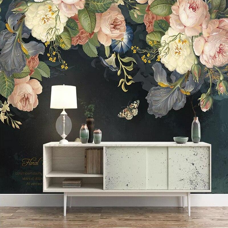 Custom 3D Wallpaper Silk Cloth Waterproof Canvas Murals Wall Painting Pastoral Floral Flower Oil Painting Black Mural Wallpaper 3