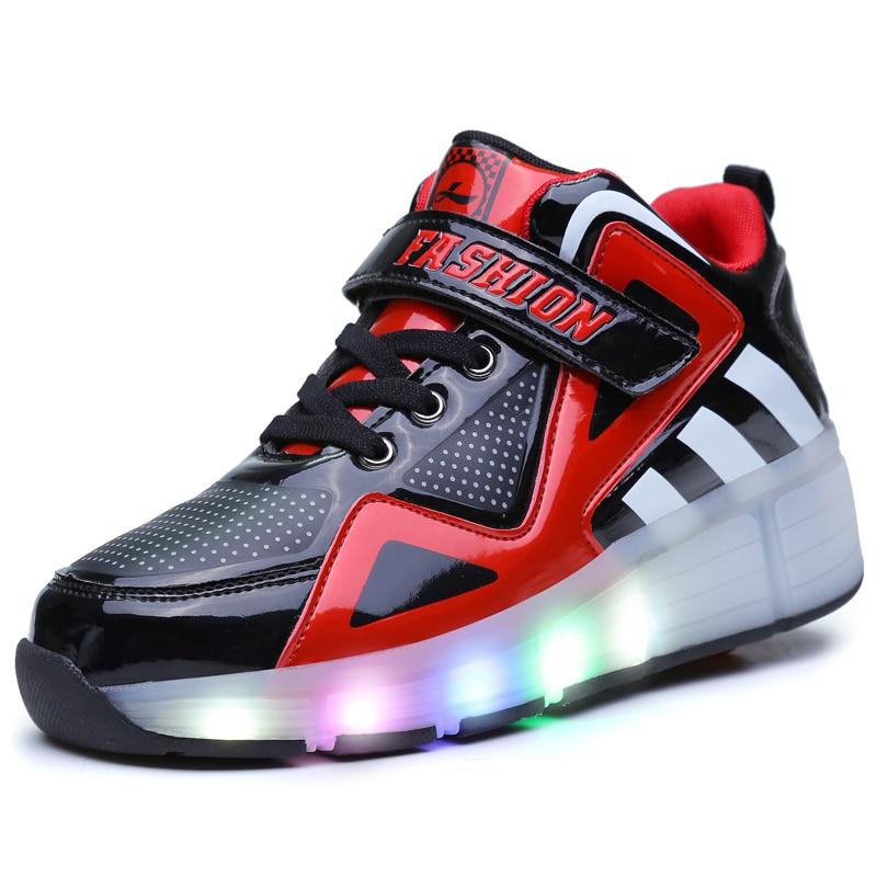 30-39 один колеса светящиеся дышащая мальчики девочки роликовые коньки кроссовки светодиодный свет обувь маленькие дети/большие дети мигает ...